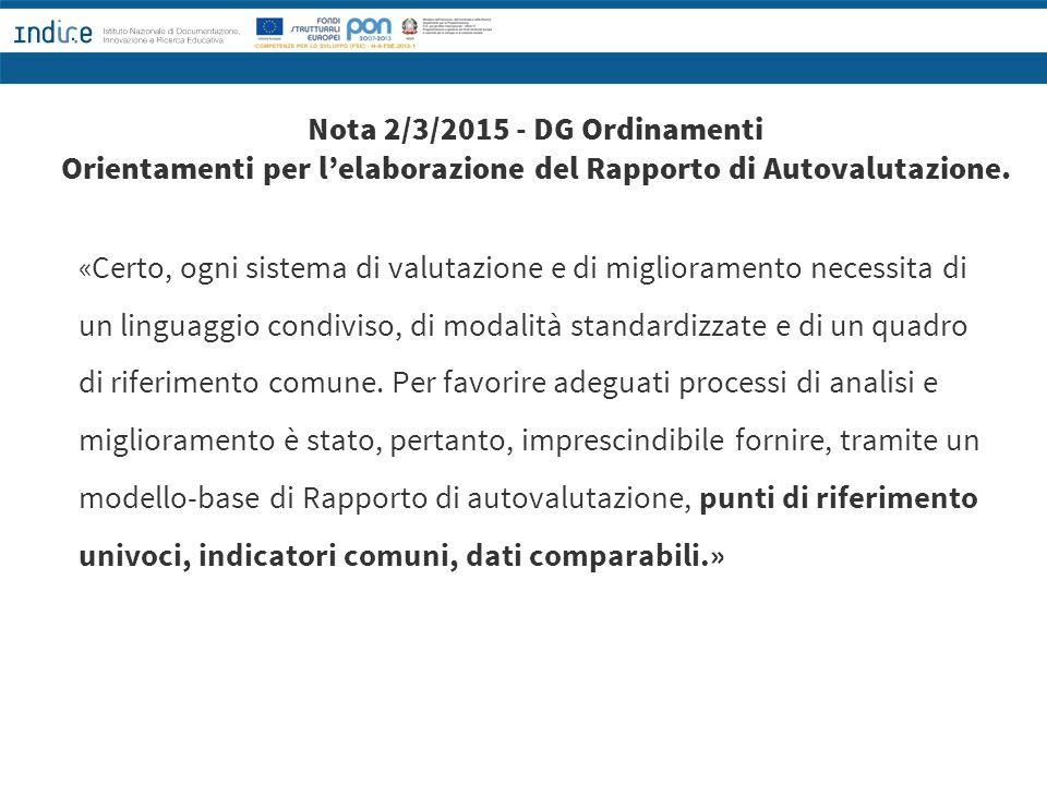 Nota 2/3/2015 - DG Ordinamenti Orientamenti per l'elaborazione del Rapporto di Autovalutazione.
