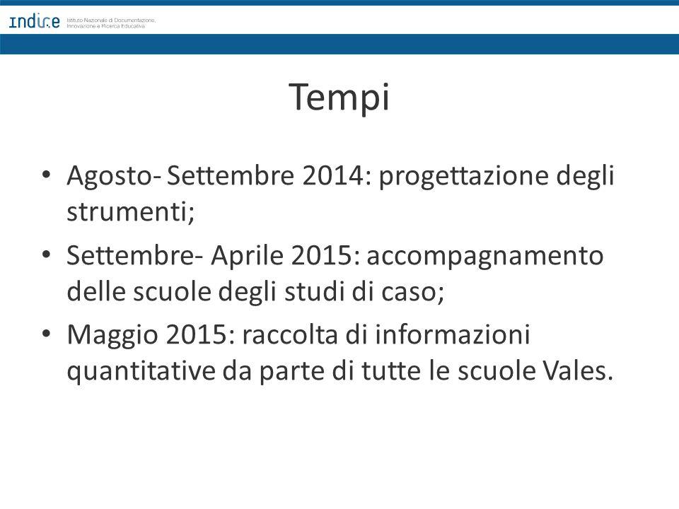 Tempi Agosto- Settembre 2014: progettazione degli strumenti;