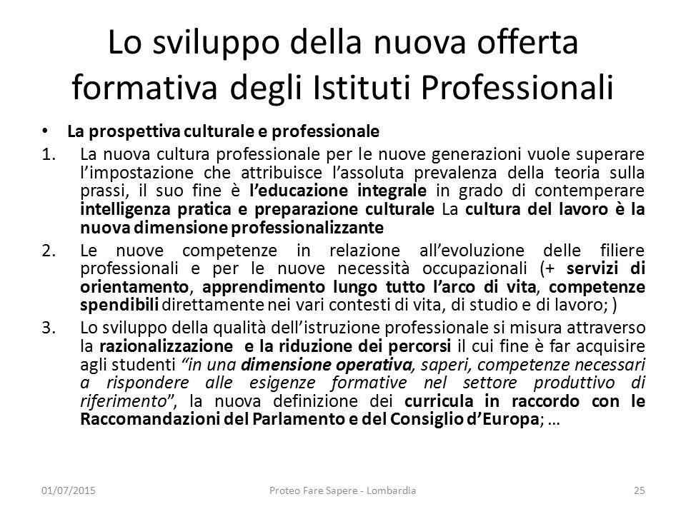 Lo sviluppo della nuova offerta formativa degli Istituti Professionali