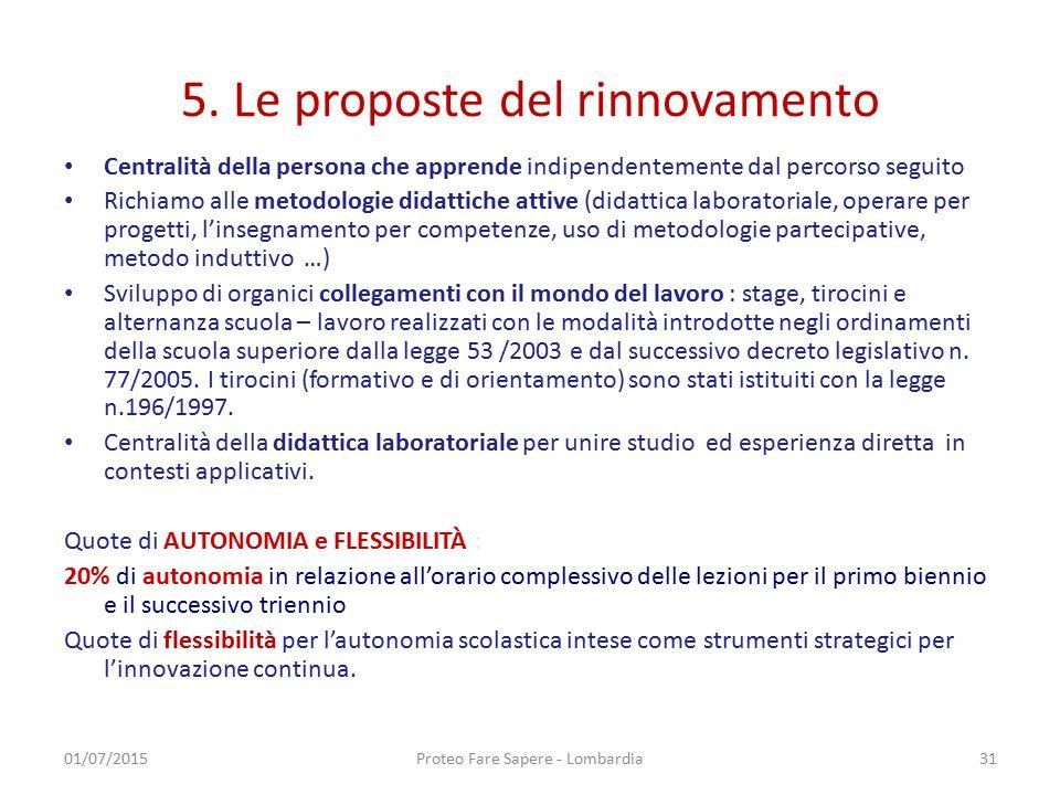 5. Le proposte del rinnovamento