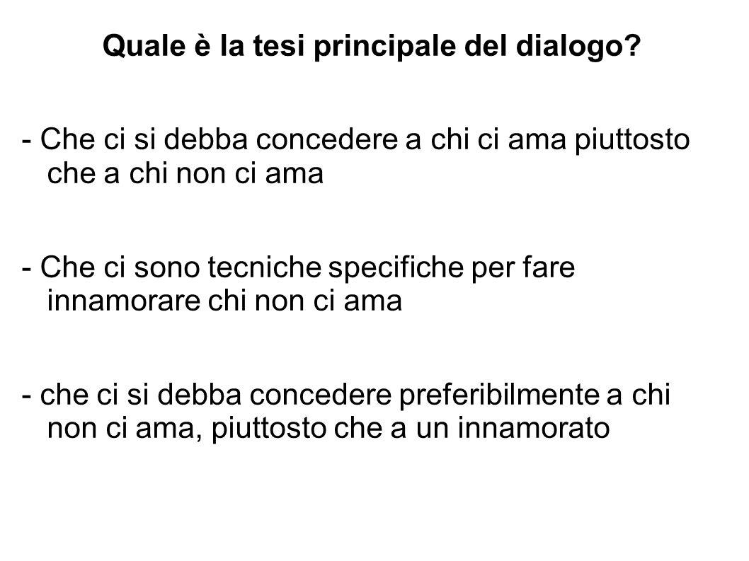 Quale è la tesi principale del dialogo