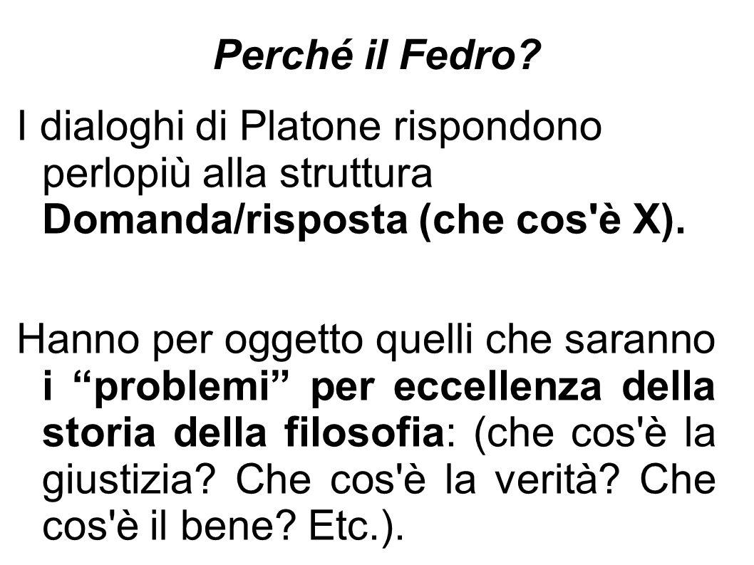 Perché il Fedro I dialoghi di Platone rispondono perlopiù alla struttura Domanda/risposta (che cos è X).