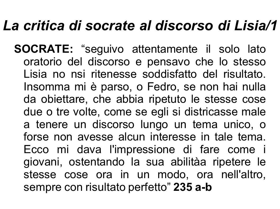 La critica di socrate al discorso di Lisia/1