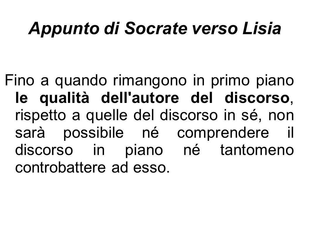 Appunto di Socrate verso Lisia