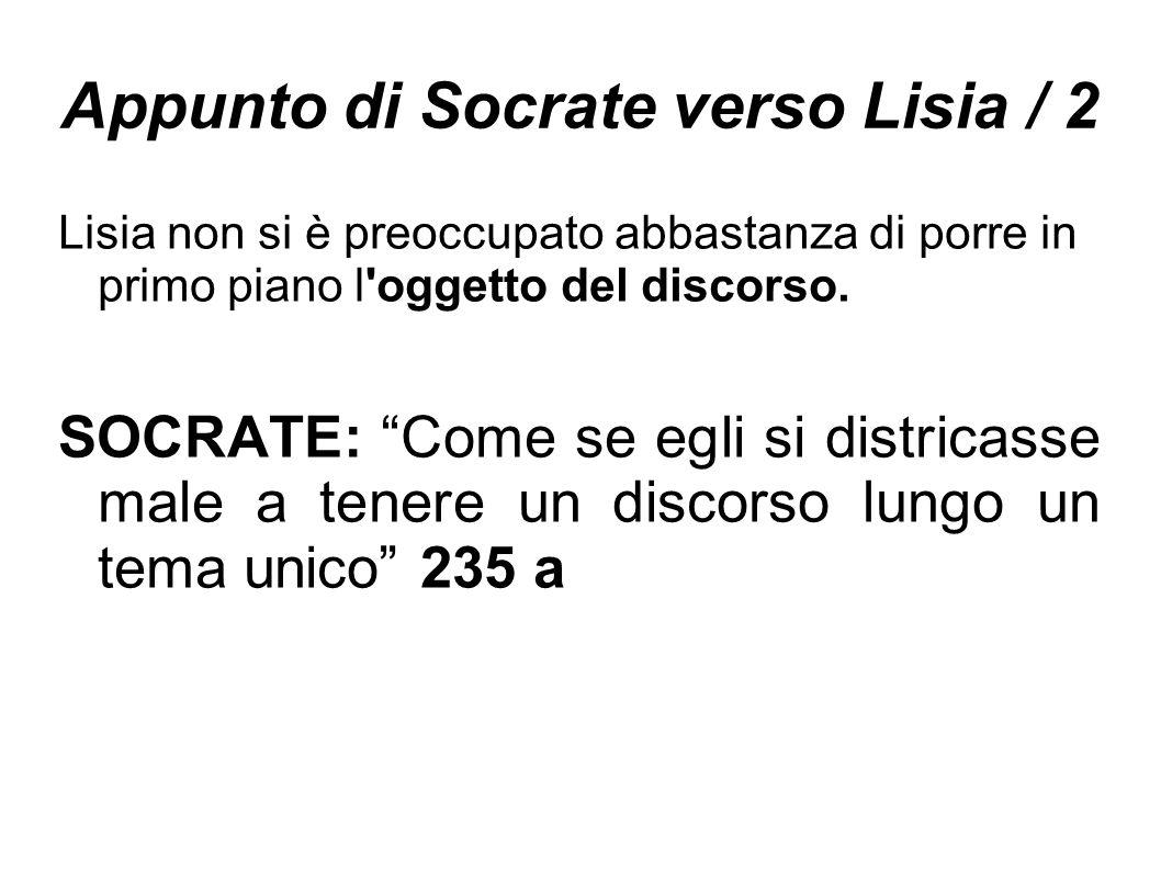 Appunto di Socrate verso Lisia / 2