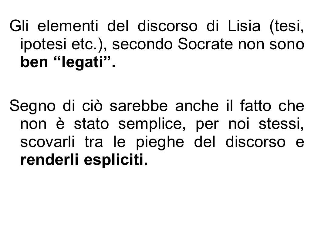 Gli elementi del discorso di Lisia (tesi, ipotesi etc