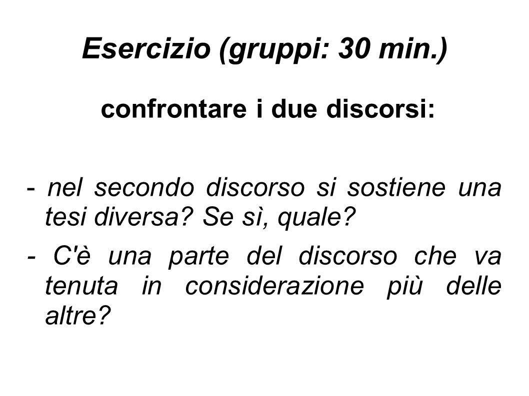 Esercizio (gruppi: 30 min.)