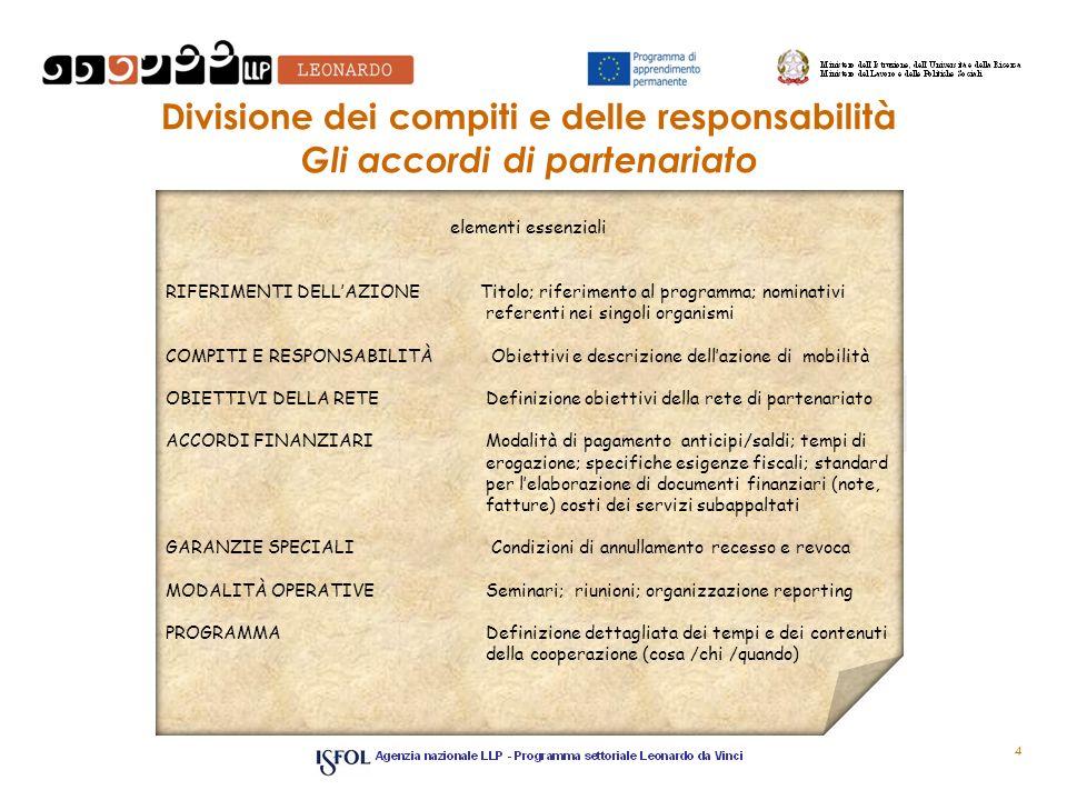 Divisione dei compiti e delle responsabilità Gli accordi di partenariato