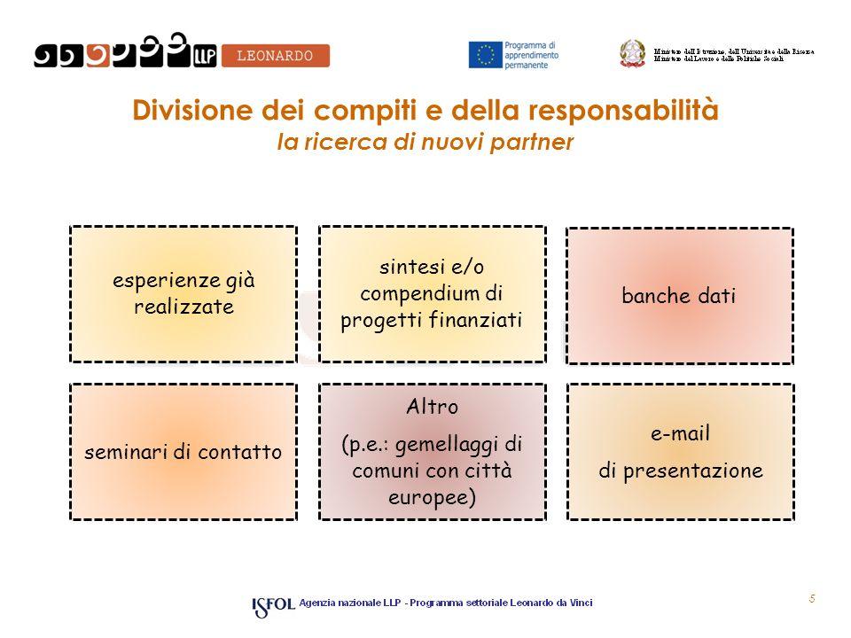Divisione dei compiti e della responsabilità la ricerca di nuovi partner