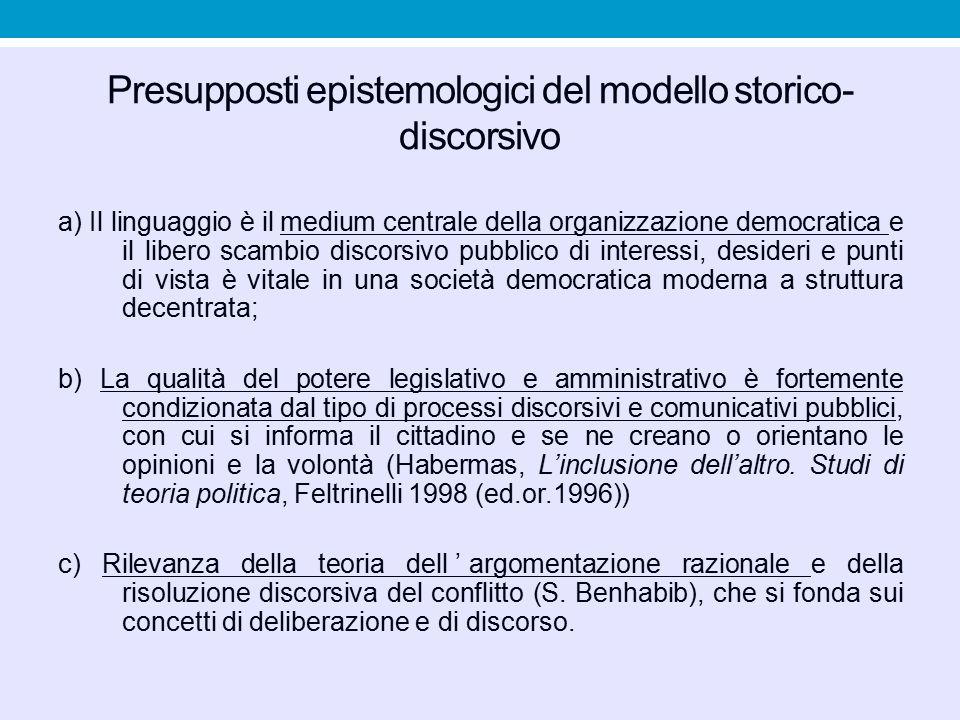 Presupposti epistemologici del modello storico-discorsivo
