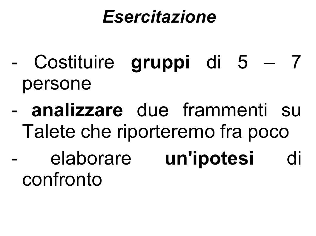 - Costituire gruppi di 5 – 7 persone