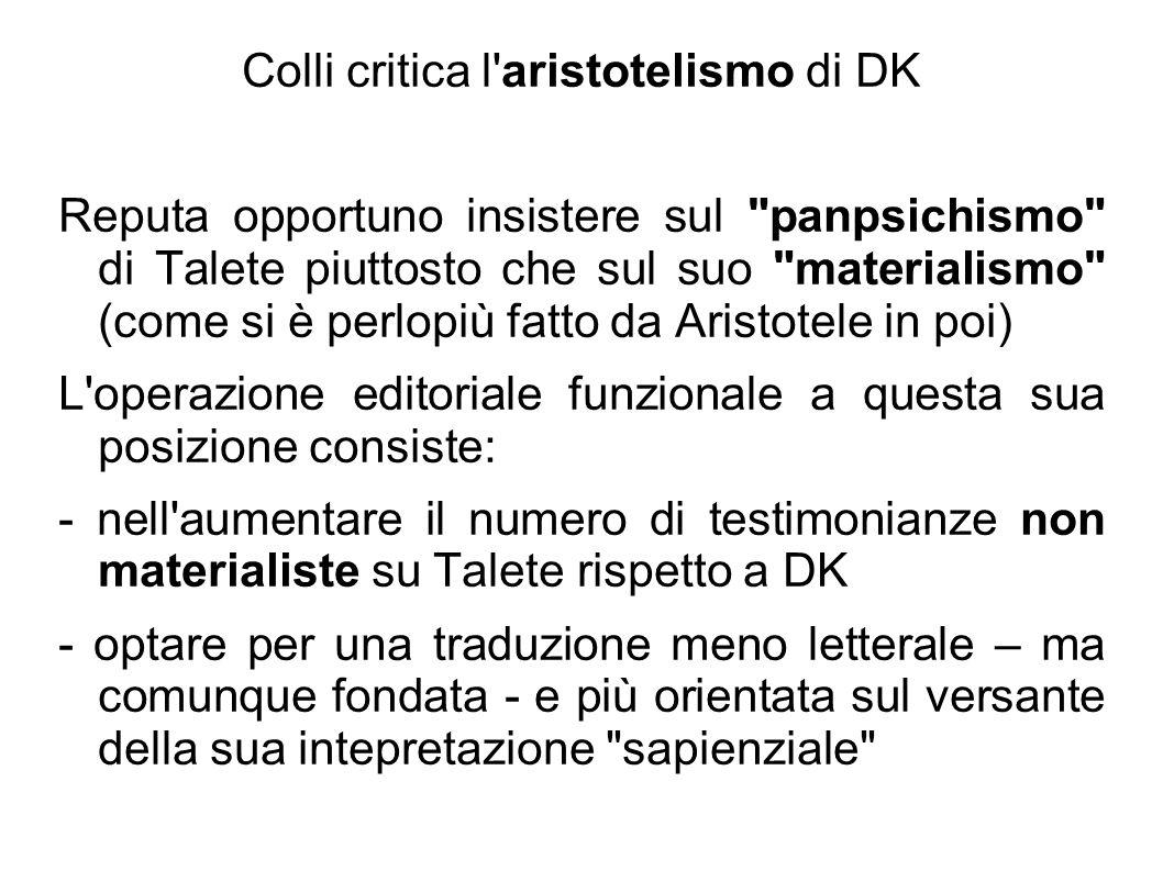 Colli critica l aristotelismo di DK