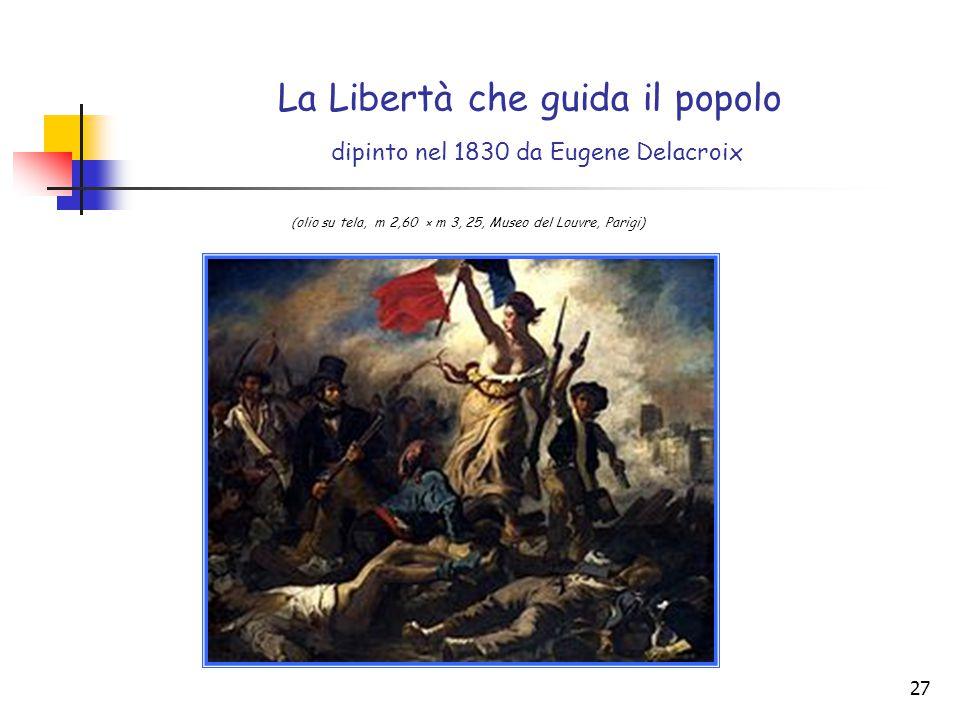 La Libertà che guida il popolo dipinto nel 1830 da Eugene Delacroix