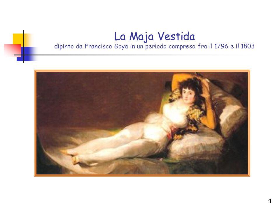 La Maja Vestida dipinto da Francisco Goya in un periodo compreso fra il 1796 e il 1803
