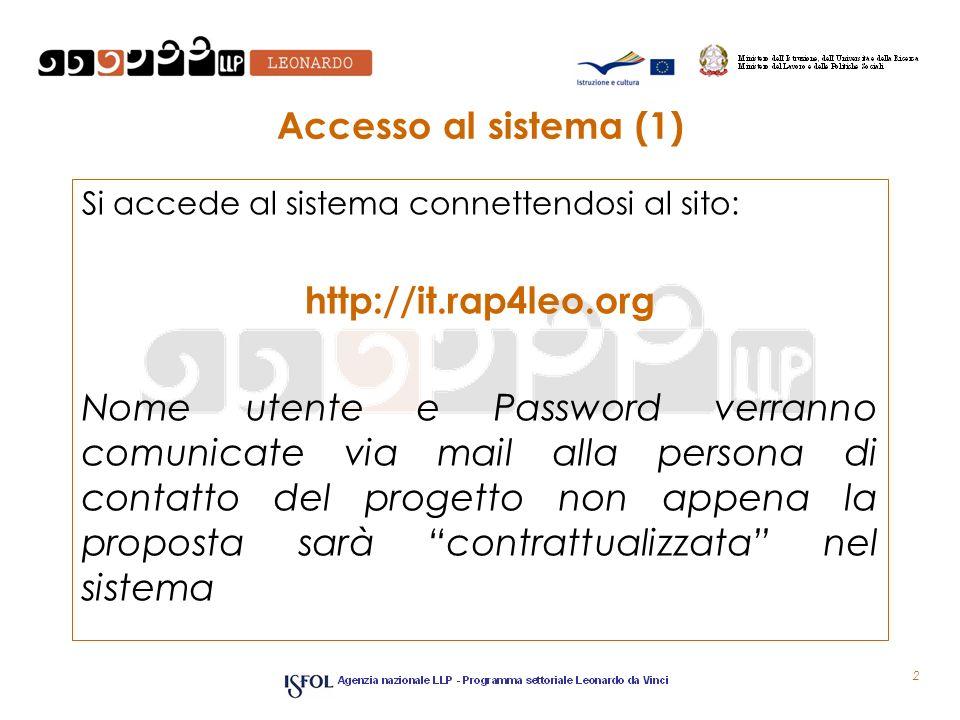 Accesso al sistema (1) http://it.rap4leo.org