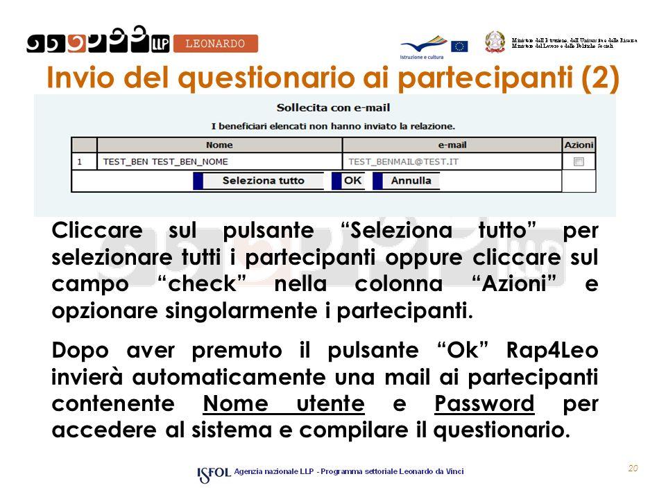 Invio del questionario ai partecipanti (2)