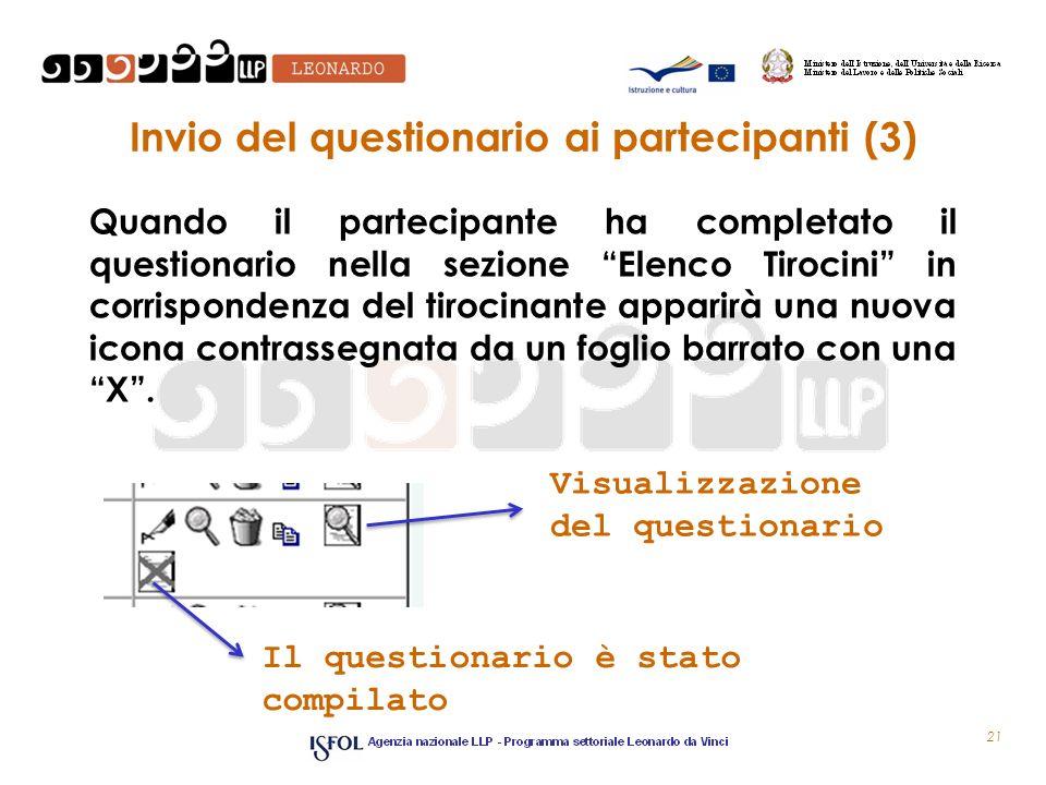 Invio del questionario ai partecipanti (3)