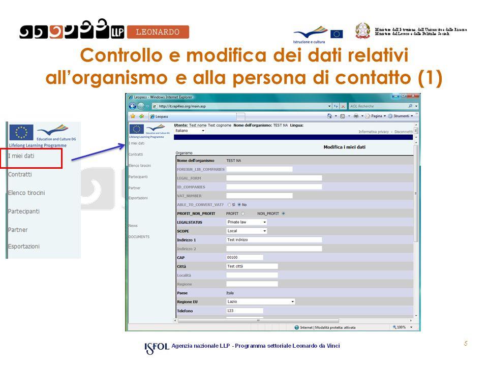 Controllo e modifica dei dati relativi all'organismo e alla persona di contatto (1)