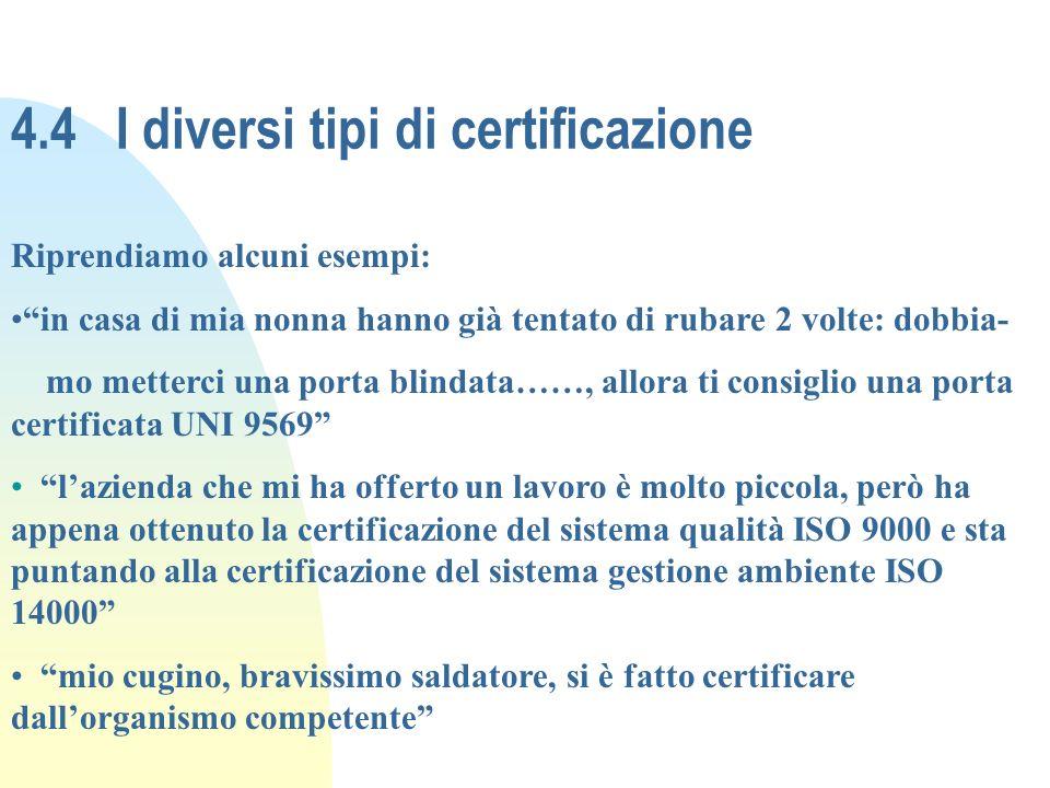 4.4 I diversi tipi di certificazione