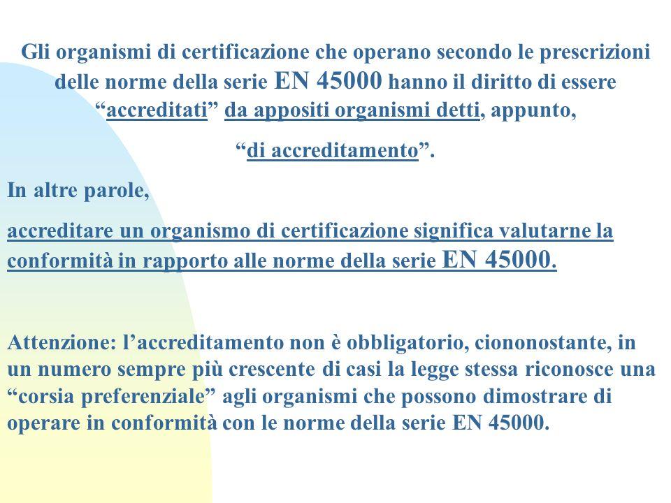 Gli organismi di certificazione che operano secondo le prescrizioni delle norme della serie EN 45000 hanno il diritto di essere accreditati da appositi organismi detti, appunto,