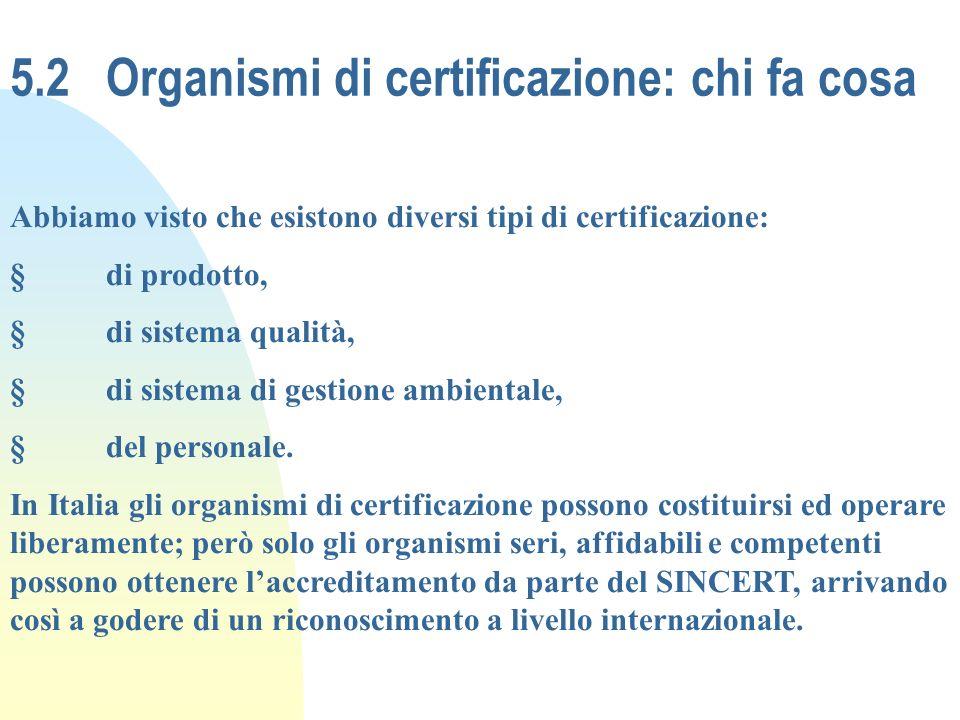 5.2 Organismi di certificazione: chi fa cosa