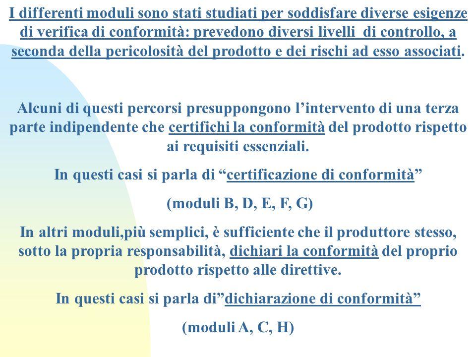In questi casi si parla di certificazione di conformità