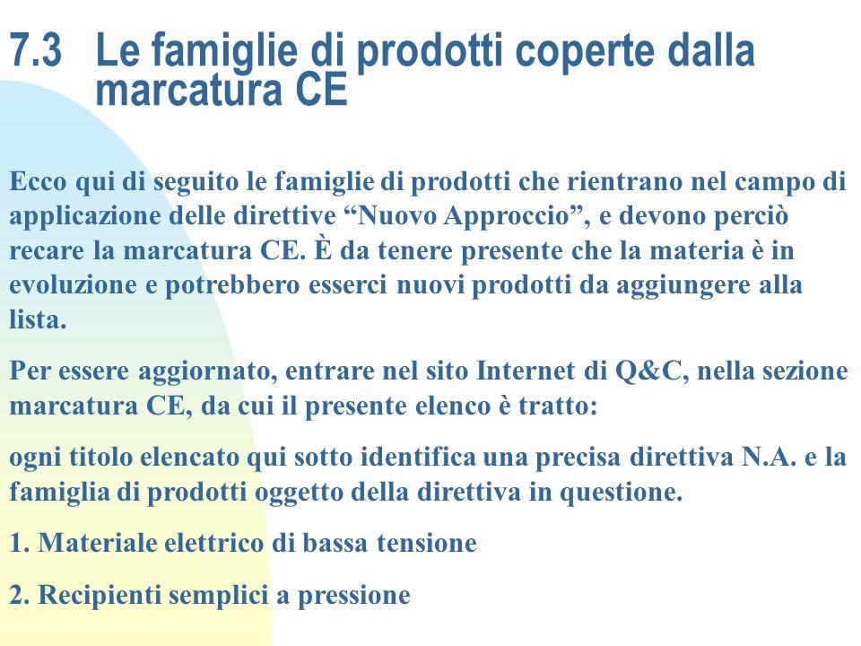 7.3 Le famiglie di prodotti coperte dalla marcatura CE