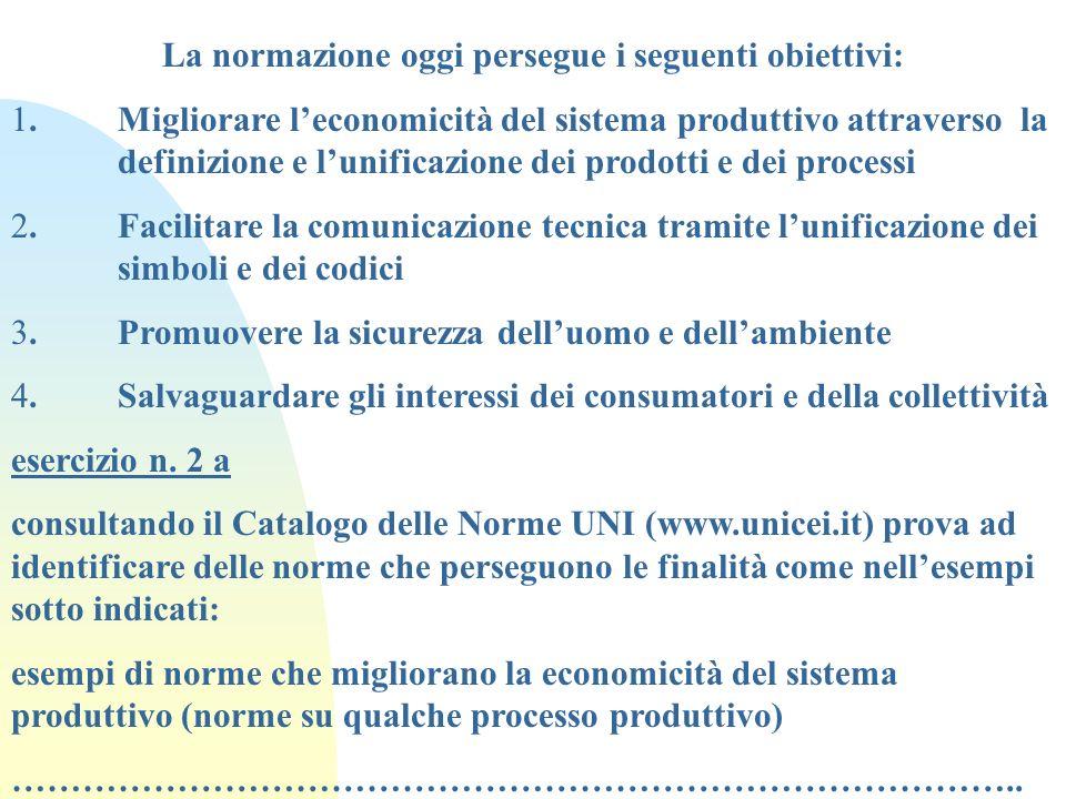 La normazione oggi persegue i seguenti obiettivi: