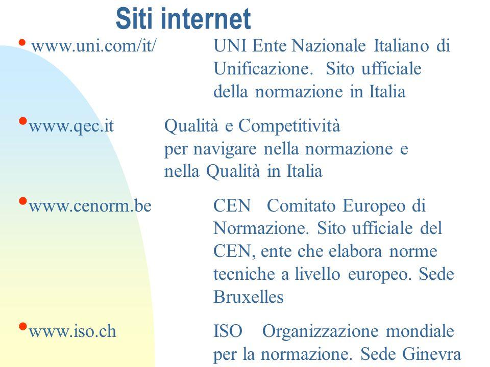 Siti internet www.uni.com/it/ UNI Ente Nazionale Italiano di Unificazione. Sito ufficiale della normazione in Italia.