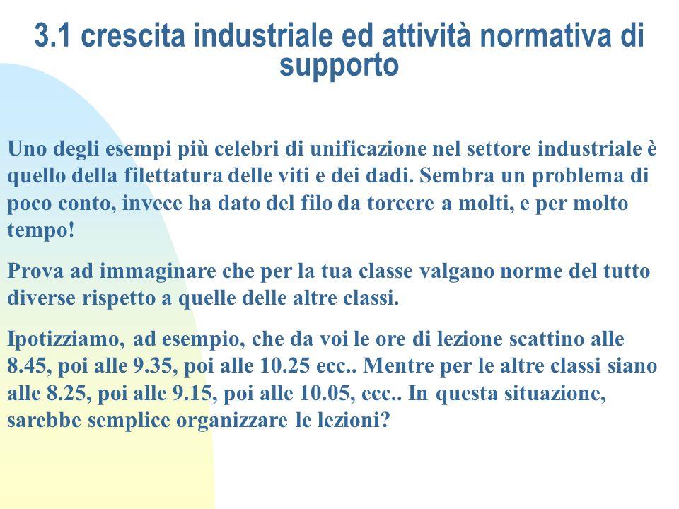 3.1 crescita industriale ed attività normativa di supporto