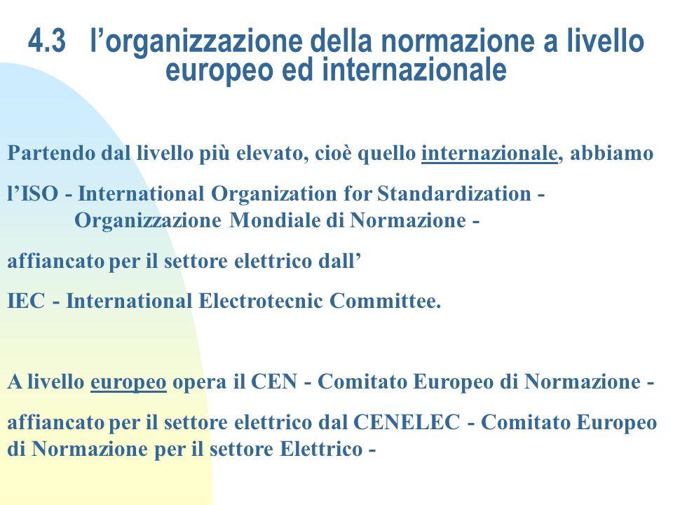 4.3 l'organizzazione della normazione a livello europeo ed internazionale