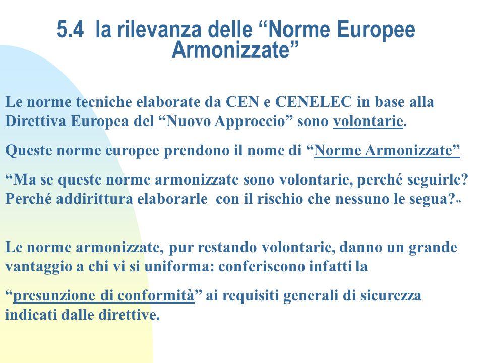 5.4 la rilevanza delle Norme Europee Armonizzate