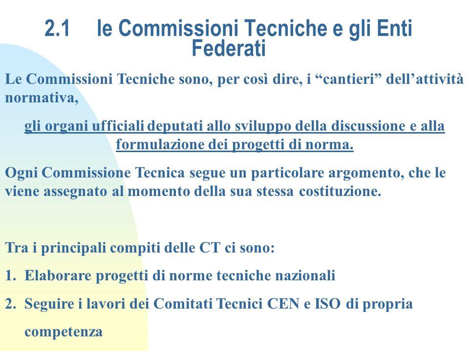 2.1 le Commissioni Tecniche e gli Enti Federati