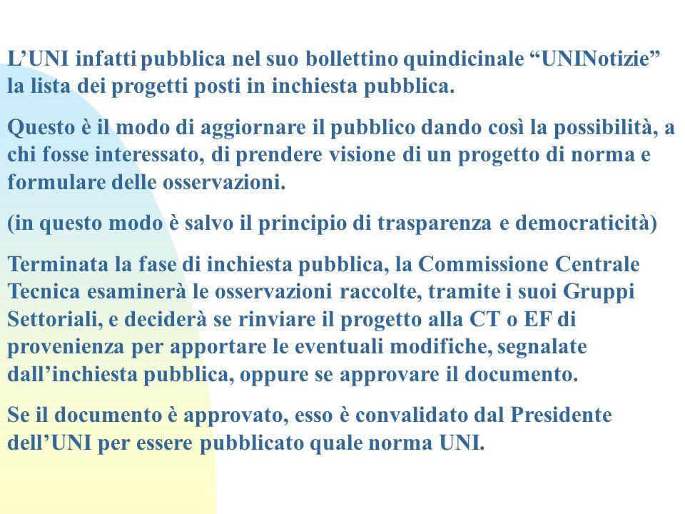L'UNI infatti pubblica nel suo bollettino quindicinale UNINotizie la lista dei progetti posti in inchiesta pubblica.