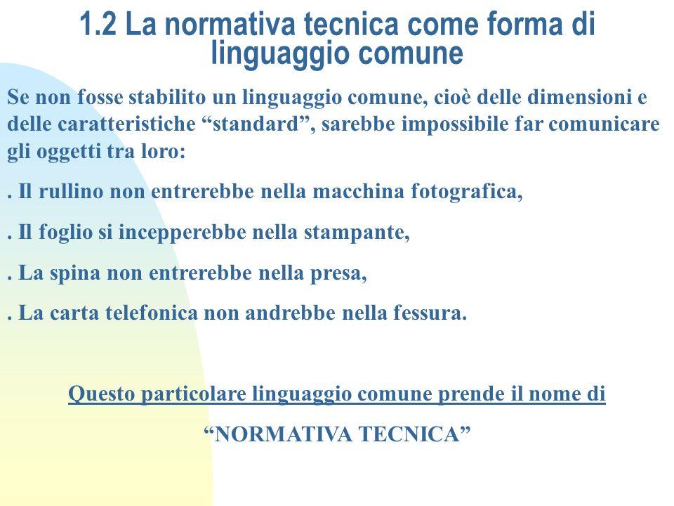 1.2 La normativa tecnica come forma di linguaggio comune