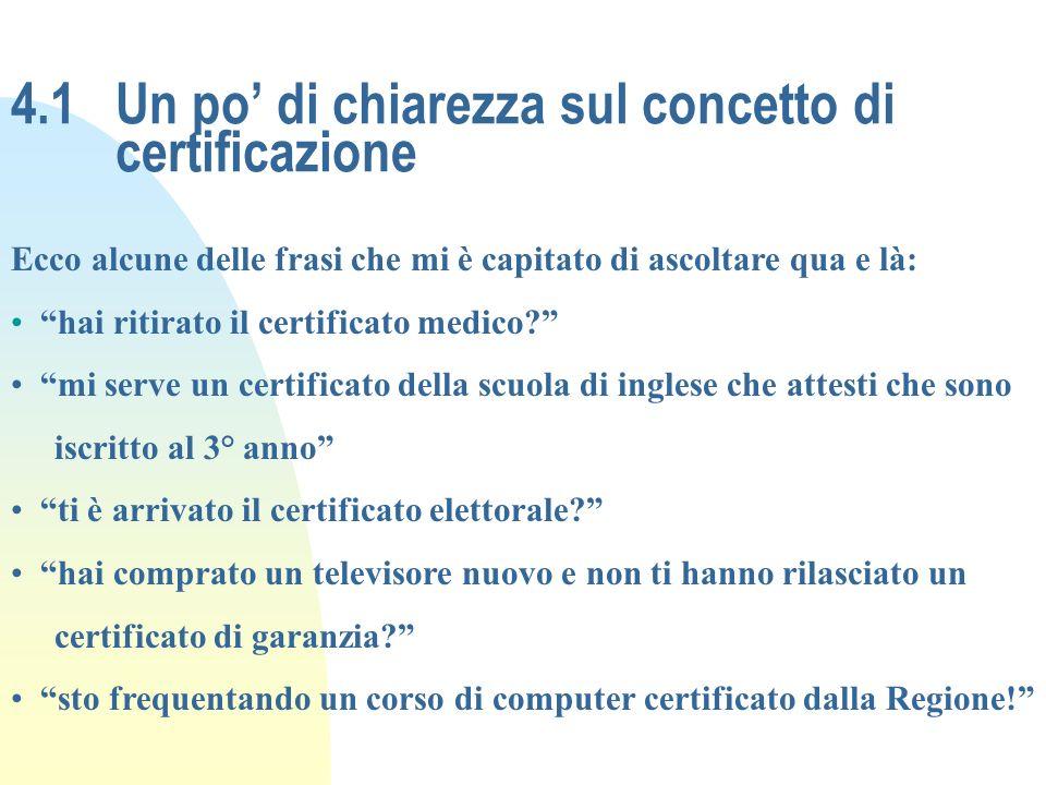 4.1 Un po' di chiarezza sul concetto di certificazione