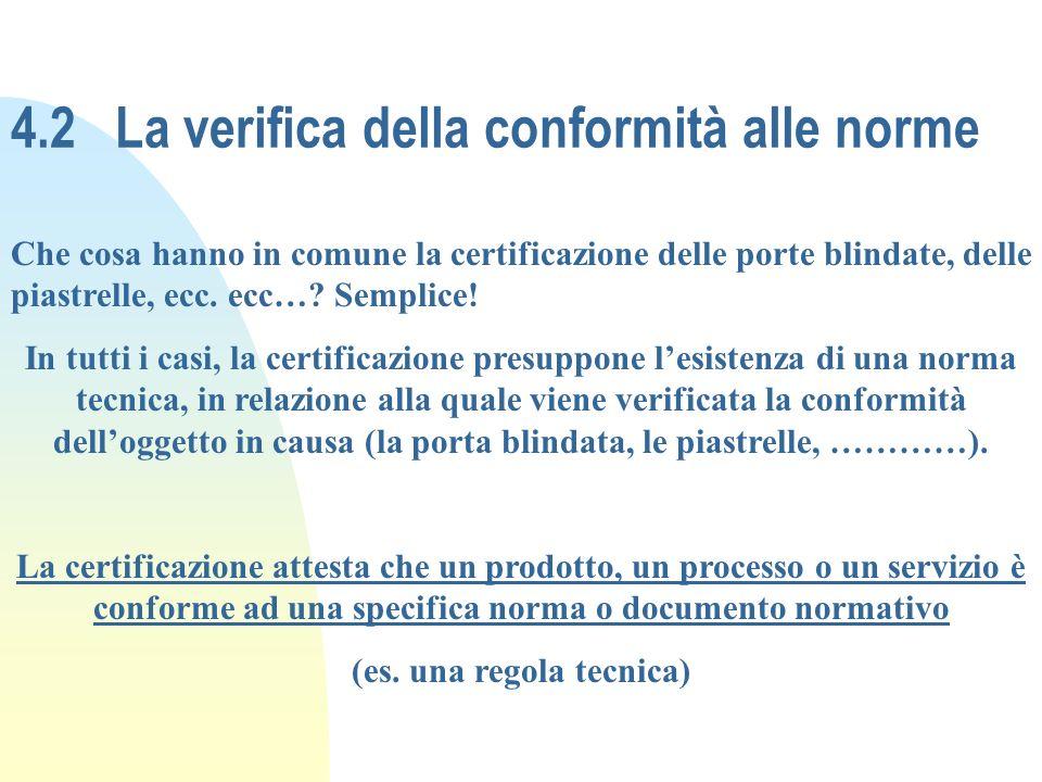 4.2 La verifica della conformità alle norme