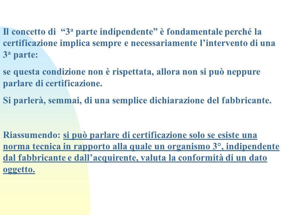Il concetto di 3a parte indipendente è fondamentale perché la certificazione implica sempre e necessariamente l'intervento di una 3a parte: