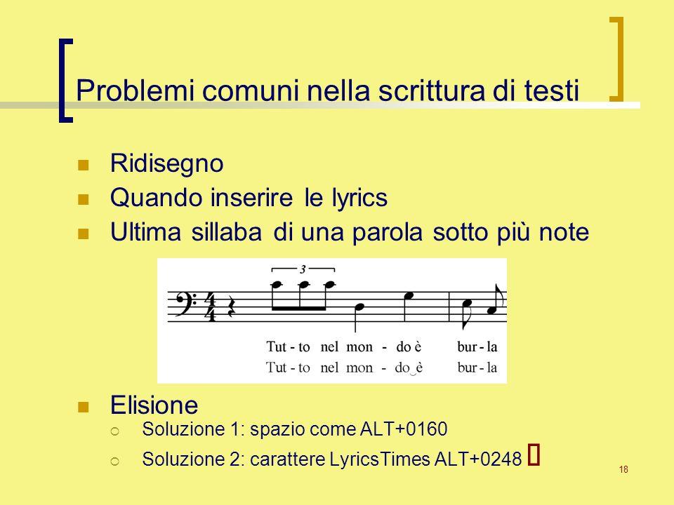 Problemi comuni nella scrittura di testi