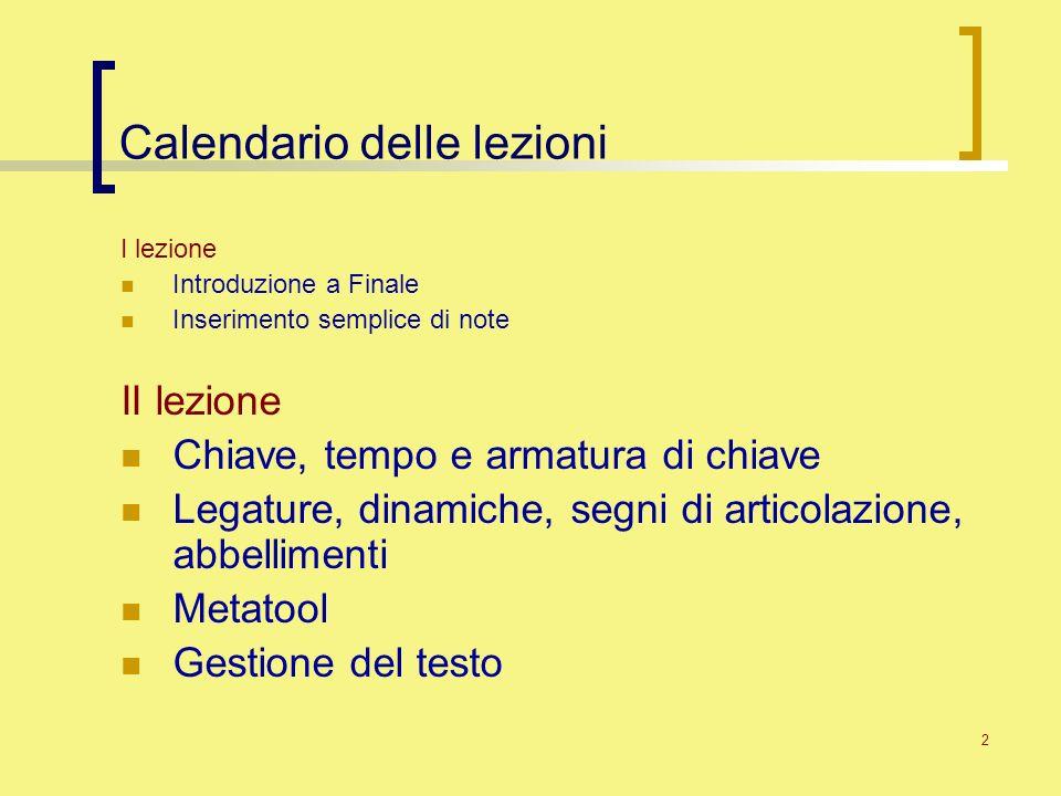 Calendario delle lezioni