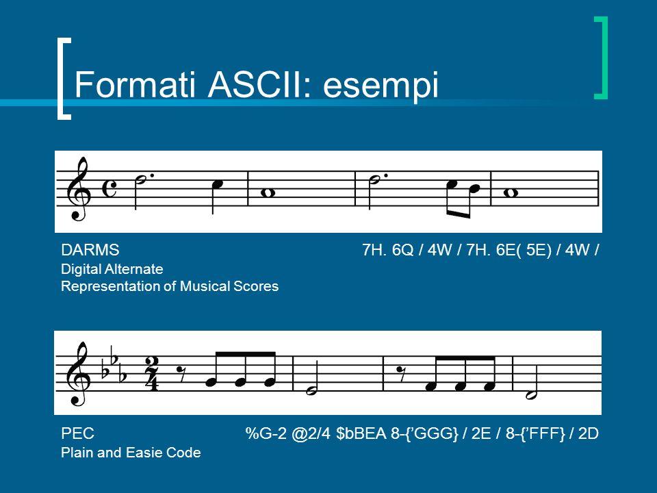 Formati ASCII: esempi DARMS 7H. 6Q / 4W / 7H. 6E( 5E) / 4W /