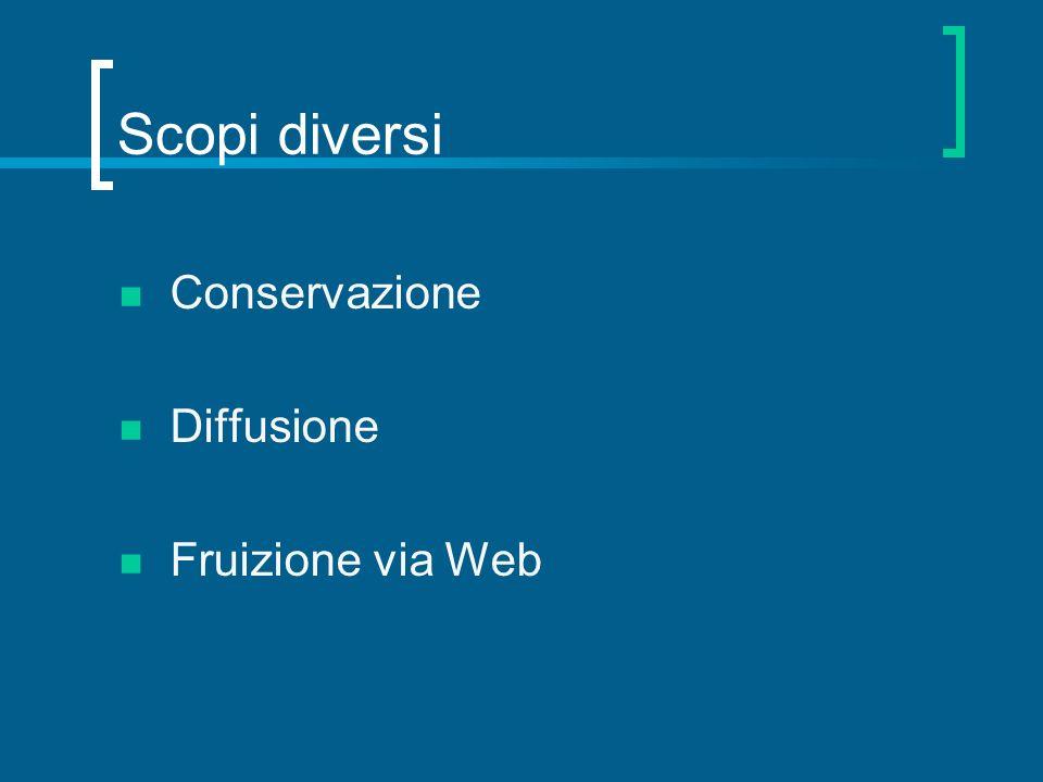 Scopi diversi Conservazione Diffusione Fruizione via Web