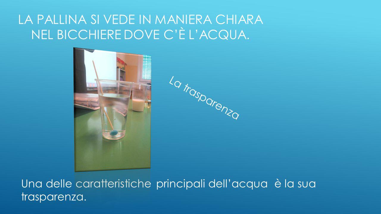 La pallina si vede in maniera chiara nel bicchiere dove c'è l'acqua.