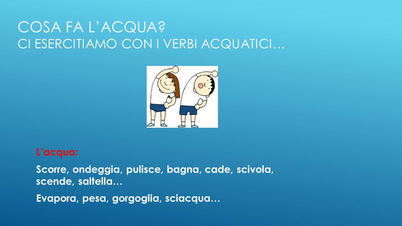 Cosa fa l'acqua Ci esercitiamo con i verbi acquatici…