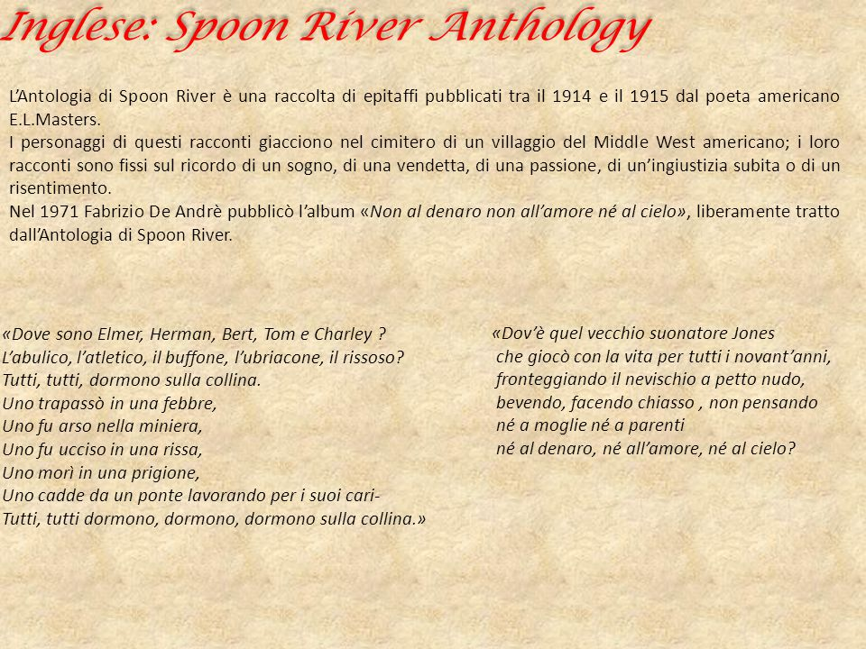 Inglese: Spoon River Anthology