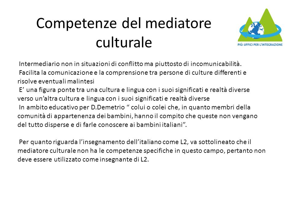 Competenze del mediatore culturale