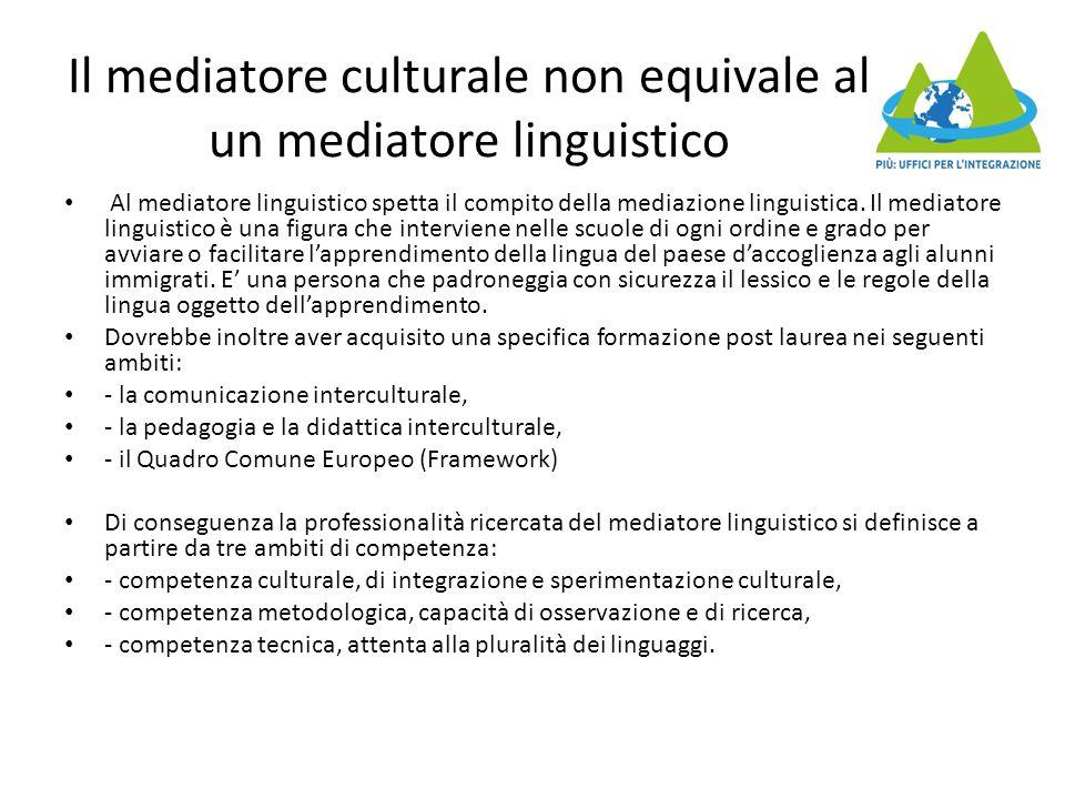 Il mediatore culturale non equivale al un mediatore linguistico