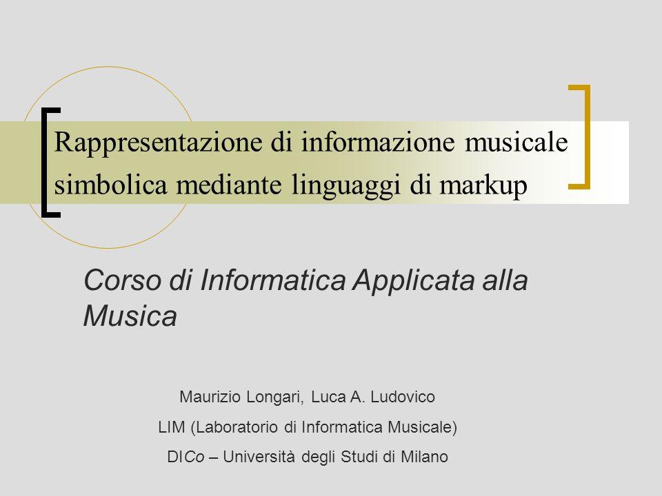 Corso di Informatica Applicata alla Musica