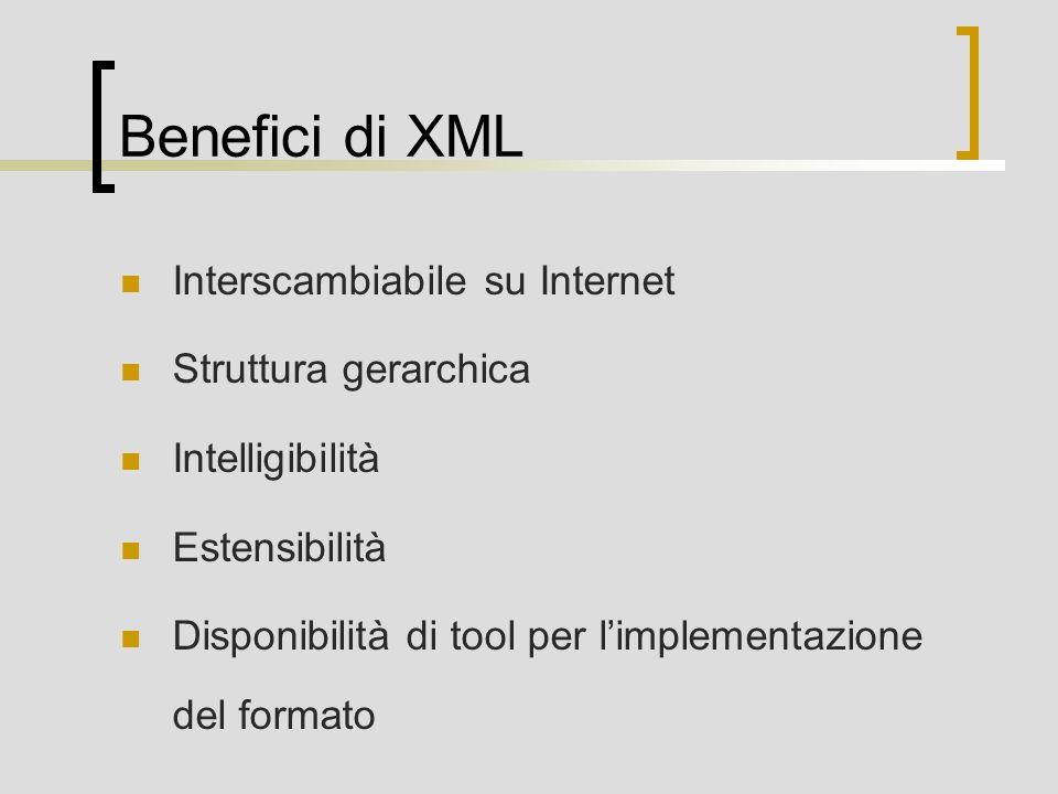 Benefici di XML Interscambiabile su Internet Struttura gerarchica