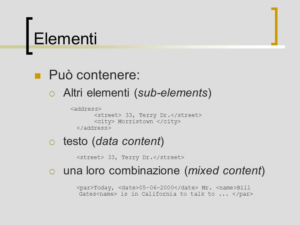Elementi Può contenere: Altri elementi (sub-elements)